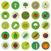 Vegetables Filled Outline Vector Icon Set - stock illustration