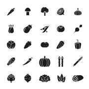 Vegetables Solid Vector Icon Set - stock illustration