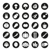Vegetables Solid Round Vector Icon Set - stock illustration