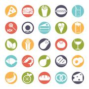 Food solid round color icons vector set Piirros