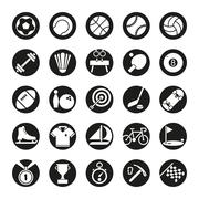 Solid black circular sports icons vector set. - stock illustration