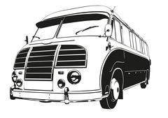 Vintage Coach Silhouette Vector Illustration Stock Illustration