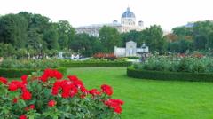 Garden near hofburg imperial palace, vienna, austria Stock Footage