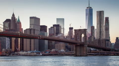New York Lower Manhattan long exposure sunset evening to night time-lapse Stock Footage