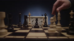 Chess boards and chess pieces game clock - stock footage