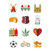 Netherlands Symbols and Landmarks Vector Illustration Set - stock illustration