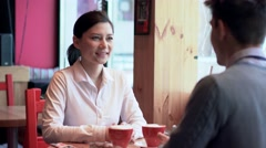 Woman and man on dating Stock Footage