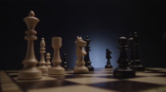 Chess boards and chess pieces game - stock footage