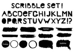 Grunge alphabet,  banner, bubbles and frame  vector set Stock Illustration