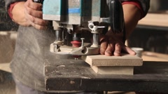 Joiner handles the wood element manual milling machine - stock footage