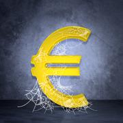 Golden euro sign in spider web Stock Illustration