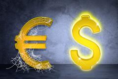 Golden dollar and euro sign in spider web Stock Illustration