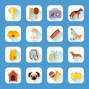 Flat icons set dog slant shadow Stock Illustration