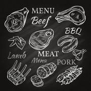 Retro Meat Menu Icons On Chalkboard - stock illustration