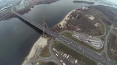 Aerial shot of Southern bridge over the Dnieper in Kiev Stock Footage