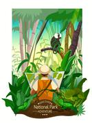 Stock Illustration of Colorful Tropical Forest Landscape Poster