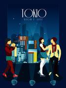 Tokyo Night Life Poster - stock illustration