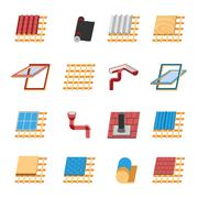 Roof Construction Elements Flat Icons Set - stock illustration