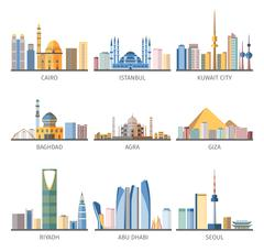 Eastern Cityscapes Landmarks Flat Icons Collection - stock illustration