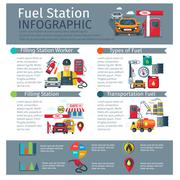 Gas Station Infographic Set Stock Illustration