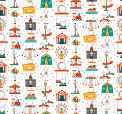 Stock Illustration of Funfair Fair Amusement Park Seamless Pattern