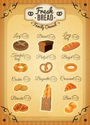 Vintage Style Bakery Price List Poster Stock Illustration