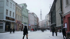TALLIN, ESTONIA - A street with a tower in Old Tallinn, Estonia Stock Footage