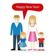 Americans or English Congratulation Happy New Year Stock Illustration