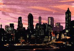 Illustrative image of illuminated cityscape at night Stock Illustration