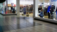 Store closing down at night inside Coquitlam center mall Stock Footage