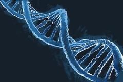Illustrative image of blue DNA molecule - stock illustration