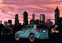 Blue car parked in front of illuminated cityscape at night Stock Illustration