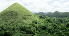 Philippines, Bohol Chocolate mountains. View over landscape with small hills Stock Footage