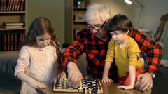 Family Chess Time Stock Footage