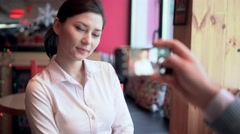 A woman posing for the camera Stock Footage