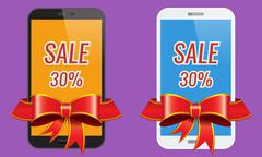 Two modern touch-screen mobile phones with ribbon sale banner. - stock illustration