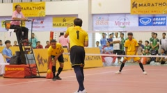 Sepaktakraw players serving a game,Ubon Ratchathani,Thailand Stock Footage