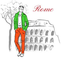 Man in Rome Stock Illustration