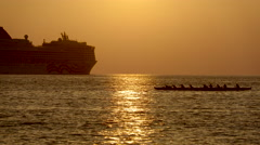 4K Sunset Ocean Boats Paddle 01 Stock Footage