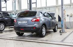 Inside in the auto repair service station of the official dealer Nissan - stock photo