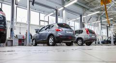 Inside in the auto repair service station of the official dealer Nissan Stock Photos