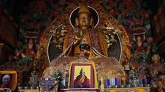 The image of Buddha inside the Kopan monastery. Slide shift Stock Footage