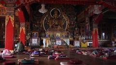 Meditation hall in the Kopan monastery - stock footage