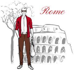 Man in Rome - stock illustration