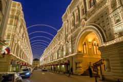GUM Department store during Christmas Fair in Moscow - stock photo