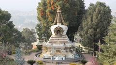 View of the stupa. Kopan Stock Footage