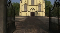 Tilt up Dutch Reformed Church Neerijnen in early neo-Gothic style Stock Footage