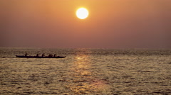 4K Sunset Ocean Boats Paddle 02 Stock Footage