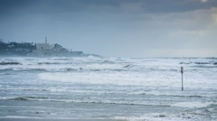 Israel Winter Storm, Seascape - stock footage