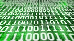 Binary code screen. Closeup. Stock Illustration